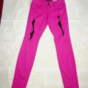 Bubblegum Badass Pink Jean Pants ~ Black Shreds